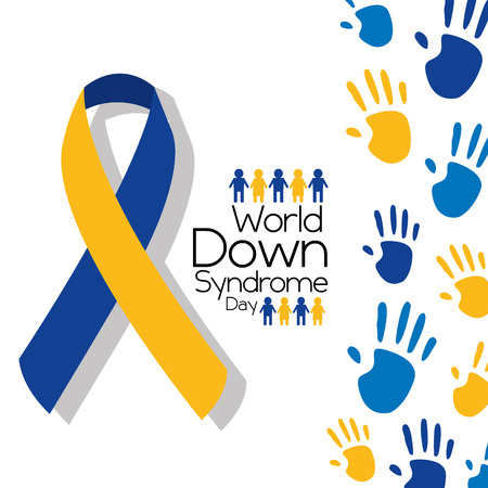 World down syndrome day greeting card symbolic color campaign vector illustration.