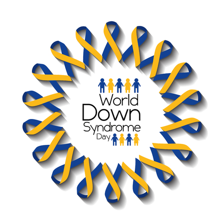 world down syndrome day card awareness health support vector illustration