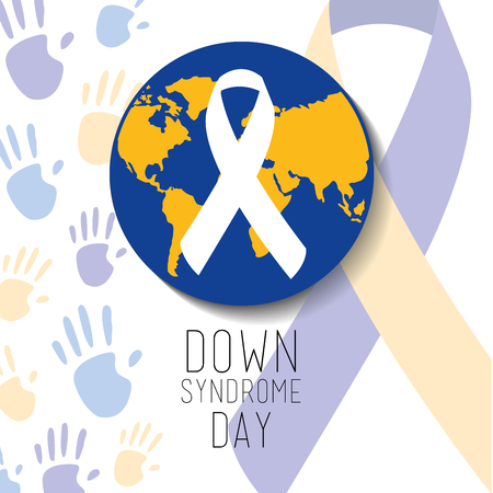 Down syndrome day blue and yellow world ribbon vector illustration Vectores