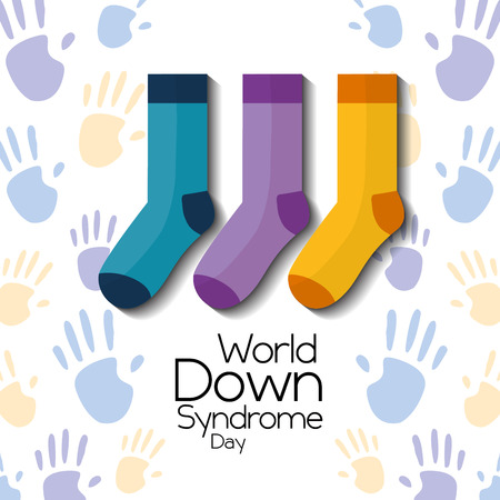world down syndrome day childrenhood hands and socks card vector illustration