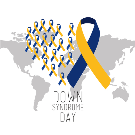 down syndrome day world map international campaign vector illustration 向量圖像