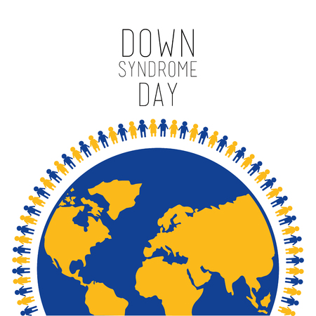 Down syndrome day people around world symbol vector illustration