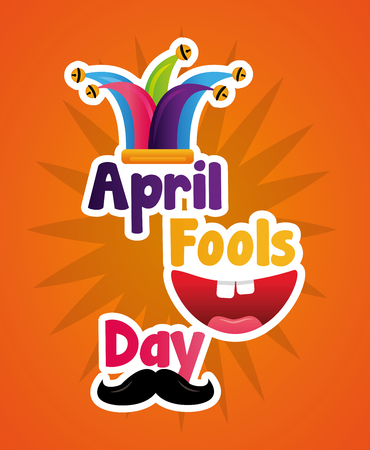 cheerful mouth mustache and hat april fools day lettering text vector illustration Ilustração