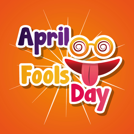 april fools day silly glasses and mouth tongue out vector illustration