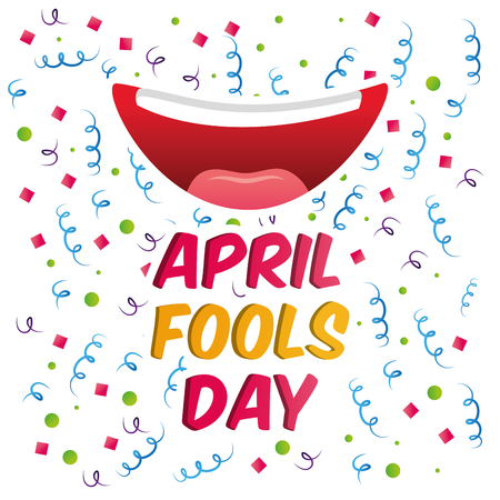 april fools day smile mouth confetti and serpentine vector illustration