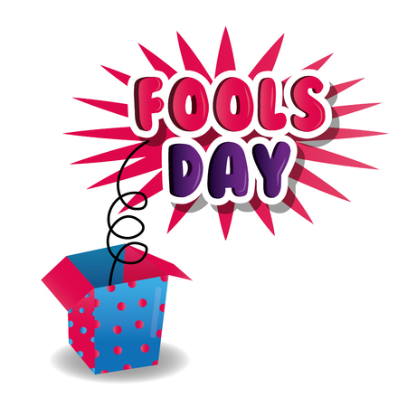 April fools day celebration poster box prank image vector illustration. 일러스트
