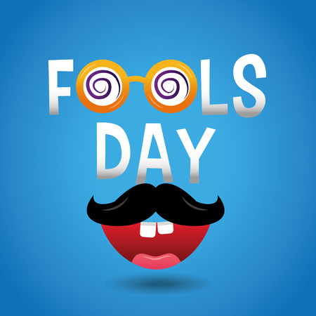 Fools day celebration card mustache and mouth teeth vector illustration