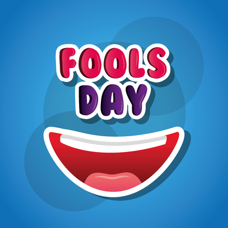 Laughing mouth happy April fools day card blue background vector illustration. Banco de Imagens - 95089601