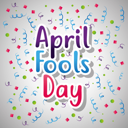 april fools day card text serpentine and confetti decoration vector illustration Çizim