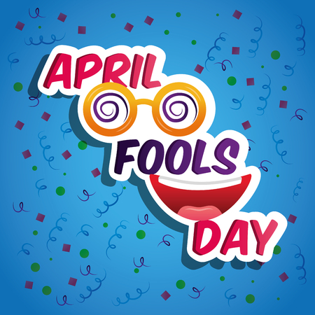 April fools day card crazy glasses and smiling mouth funny vector illustration
