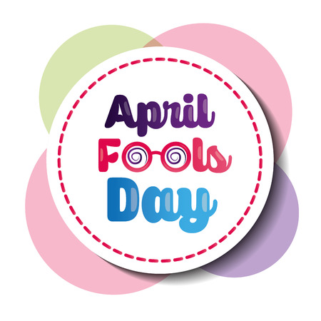 Beautiful badge celebration party April fools day vector illustration