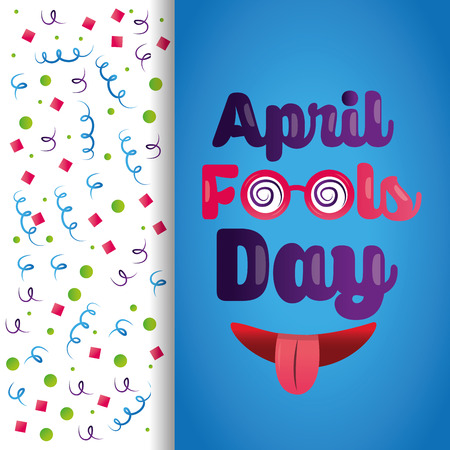 Funny greeting banner decoration confetti serpentine april fools day celebration vector illustration