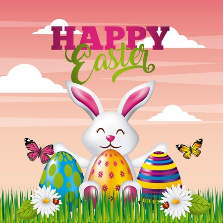 Happy Easter card cute bunny colored eggs butterfly flowers and landscape vector illustration Illustration