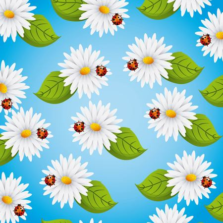 Daisies seamless pattern flowers ladybug and leaves natural vector illustration.