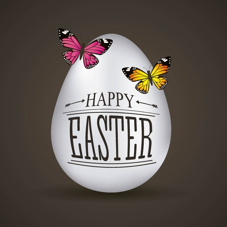 Happy Easter card big white eggs butterflies on black background vector illustration Archivio Fotografico - 95160584