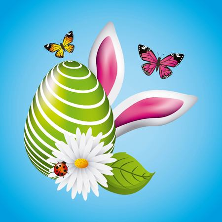 Green big egg Easter ears bunny butterfly and ladybug vector illustration. Illustration