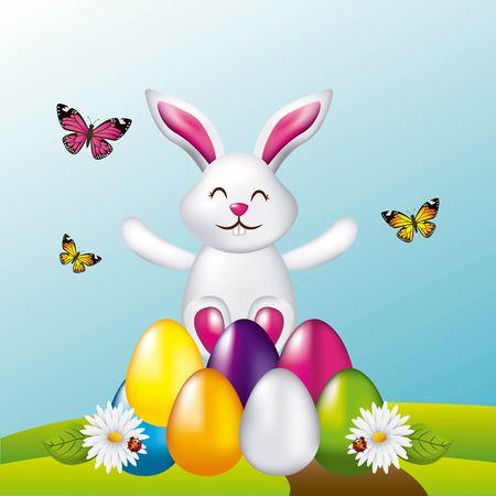 beauty rabbit easter eggs butterflies in field vector illustration