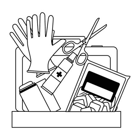Medizinische Kit mit Bandagen und Handschuhen Vektor-Illustration Design Standard-Bild - 95141028