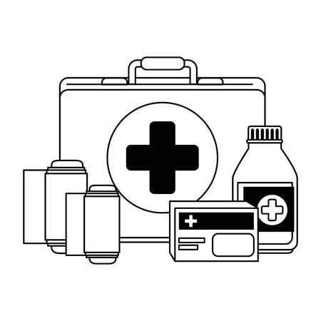 Medical kit with bandages and drugs vector illustration design. Ilustração