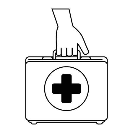 Hand with medical kit vector illustration design. Illustration