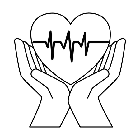 Hands with heart cardio isolated icon vector illustration design.