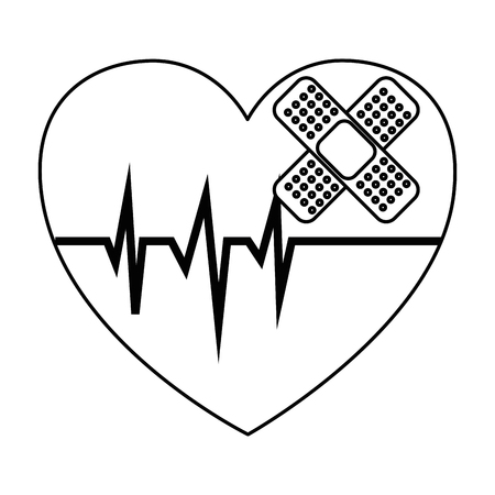 Heart cardio with bandage vector illustration design. Illustration
