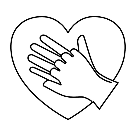 Heart with hands icon vector illustration design.