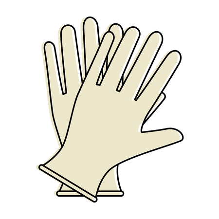 Surgical gloves isolated icon vector illustration design Stock Illustratie