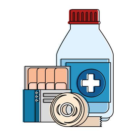 Medicine bottle with bandages vector illustration design.