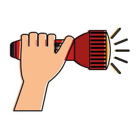 Hand with flash light isolated icon vector illustration design.