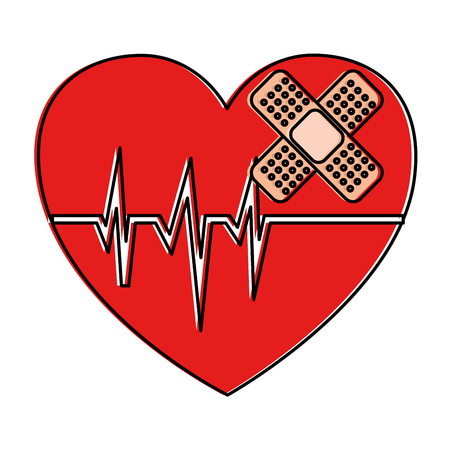 Heart cardio with bandage vector illustration design. Ilustrace