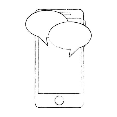 スピーチバブルベクトルイラストデザインを備えたスマートフォンデバイス