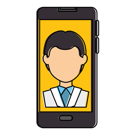 smartphone device with doctor avatar vector illustration design