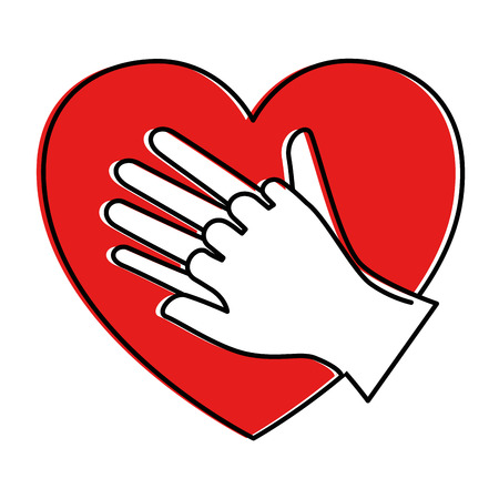 heart with hands icon vector illustration design Фото со стока