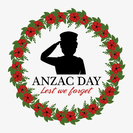 Anzac day poster with military soldier. Vector illustration graphic design.