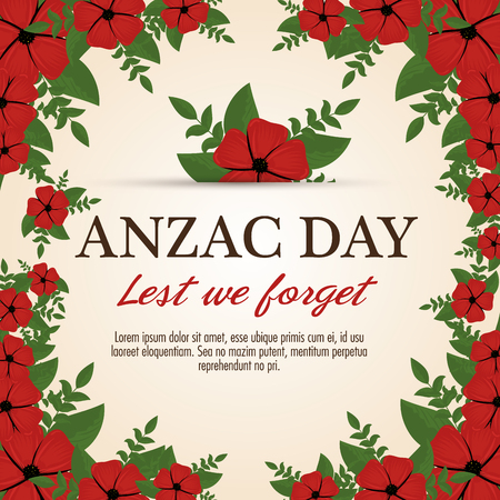 Anzac day poster with red poppy flower and text Lest we forget. Vector illustration graphic design.