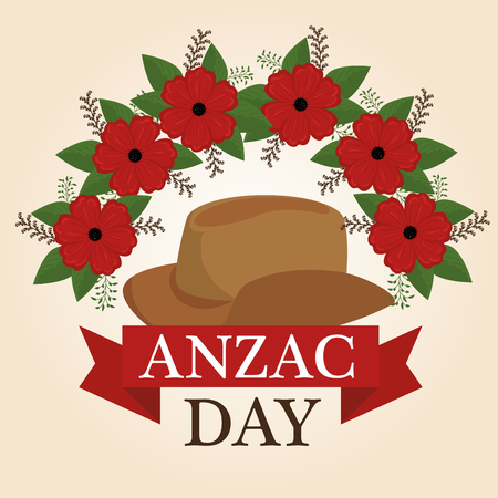 Anzac day poster with red poppy flower graphic design. Illustration