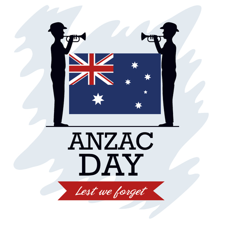 Anzac day background with soldiers blowing trumpet with text Lest we forget vector illustration graphic design. Stock Illustratie