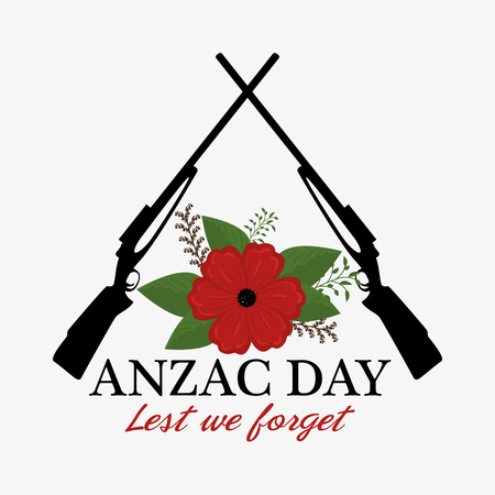 Anzac day poster with red poppy flower and text Lest we forget vector illustration graphic design