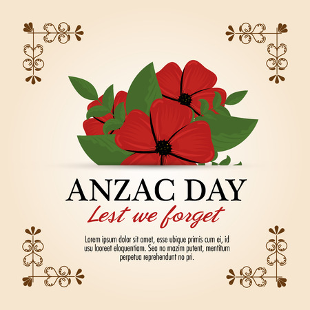 Anzac day poster with red poppy flower and text Lest we forget vector illustration graphic design.