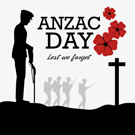 Anzac day poster with soldier standing guard vector illustration graphic design.