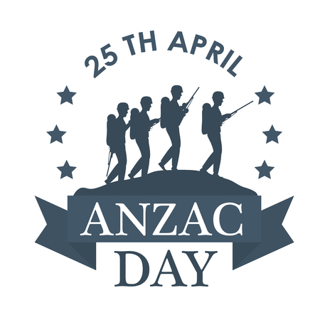 Anzac day with Silhouette soldiers in the field vector illustration graphic design.
