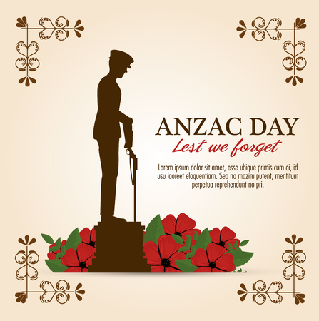 anzac day poster with soldier standing guard vector illustration graphic design Illustration