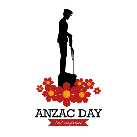 Anzac day poster with silhouette soldier standing guard vector illustration graphic design