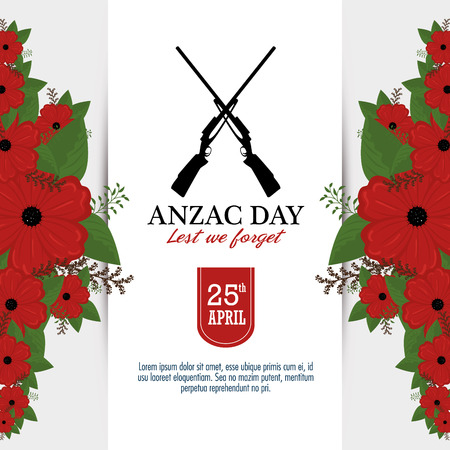 Anzac day poster with red poppy flower borders, guns and text Lest we forget vector illustration graphic design