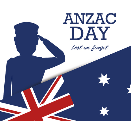 Anzac day poster with military soldier vector illustration graphic design