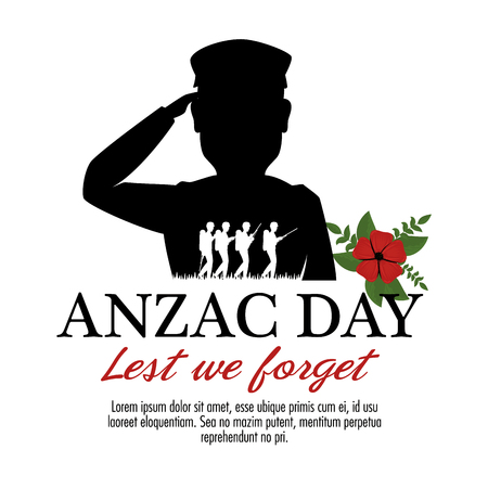 Anzac day poster with silhouette military soldiers and flower vector illustration graphic design