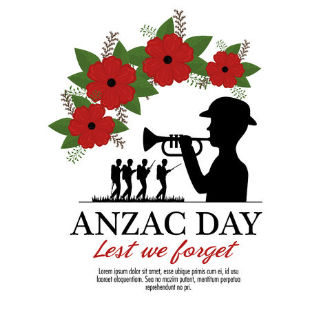 Anzac day background with soldiers blowing trumpet with text Lest we forget. Vector illustration graphic design.