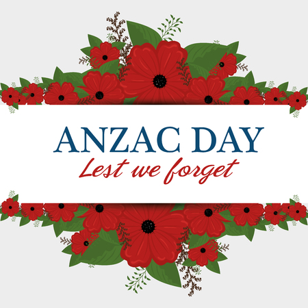Anzac day poster with red poppy flower and text Lest we forget. Vector illustration graphic design. 版權商用圖片 - 95177804