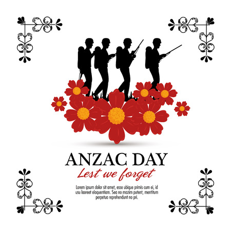 Anzac day with Silhouette soldiers in the field. Vector illustration graphic design.